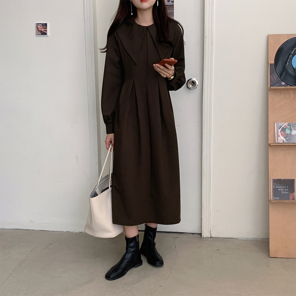 Hd8a22f19d4b64b84a64722b36e2749210 - Autumn Big Lapel Collar Long Lantern Sleeves Solid Loose Midi Dress