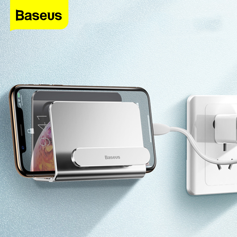 Baseus Wall Mount Holder For IPhone Xs Max X 8 Metal Strong Adhesive Mobile Phone Holder For Samsung Huawei Xiaomi Charger Stand