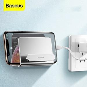 Image 1 - Baseus קיר הר מחזיק עבור iPhone 11 פרו מקס מתכת חזק דבק טלפון נייד מחזיק עבור Samsung Huawei Xiaomi מטען stand
