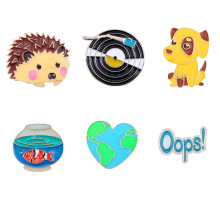 Cartoon puppy hedgehog small animal Dripping oil brooch Jewelry world map goldfish tank  enamel pins Kawaii animal brooch цена 2017
