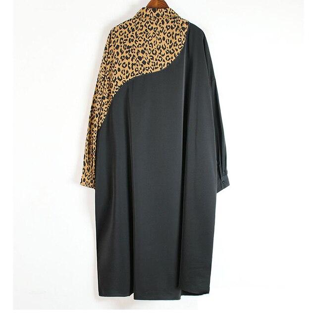XITAO Europe Style Leopard Print Stitching Irregular Dress Women Long Sleeve Loose Plus Size Chiffon Dresses for Women WJ1018 2