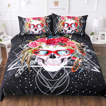 BEST.WENSD- Dots Glasses Skull Bed Linens Super Comfortable Warm Double Beding-set Cotton  (duvetcover +pillowcases) Bedding