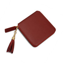 2020 Fashion Fringe Women Short Wallets Simple Square Zipper Small Wallet Luxury Designer Ladies Coin Purse Pure Color Clutch(China)