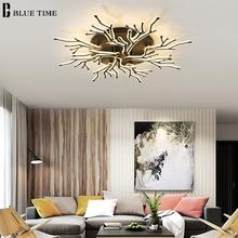 Akrylowe żyrandole sufitowe LED do salonu jadalnia sypialnia oświetlenie wewnętrzne domu oprawy sufitowe żyrandole sufitowe LED oświetlenie czarne tanie tanio BLUE TIME Klin Brak 110-240 v iron BT003 Shadeless LED APP control chandeliers Semiflush zamontować Żyrandole Aluminium