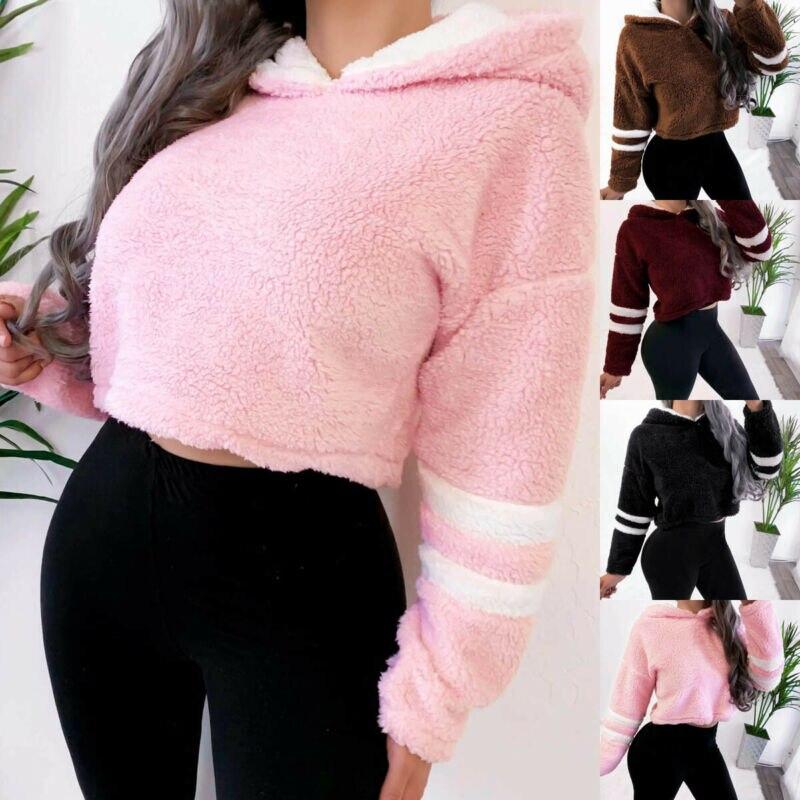 Women Casual Autumn Wintwer Warm Long Sleeve Teddy Bear Fluffy Fleece Fur Hoodie Short Hooded Sweatshirt Pullover