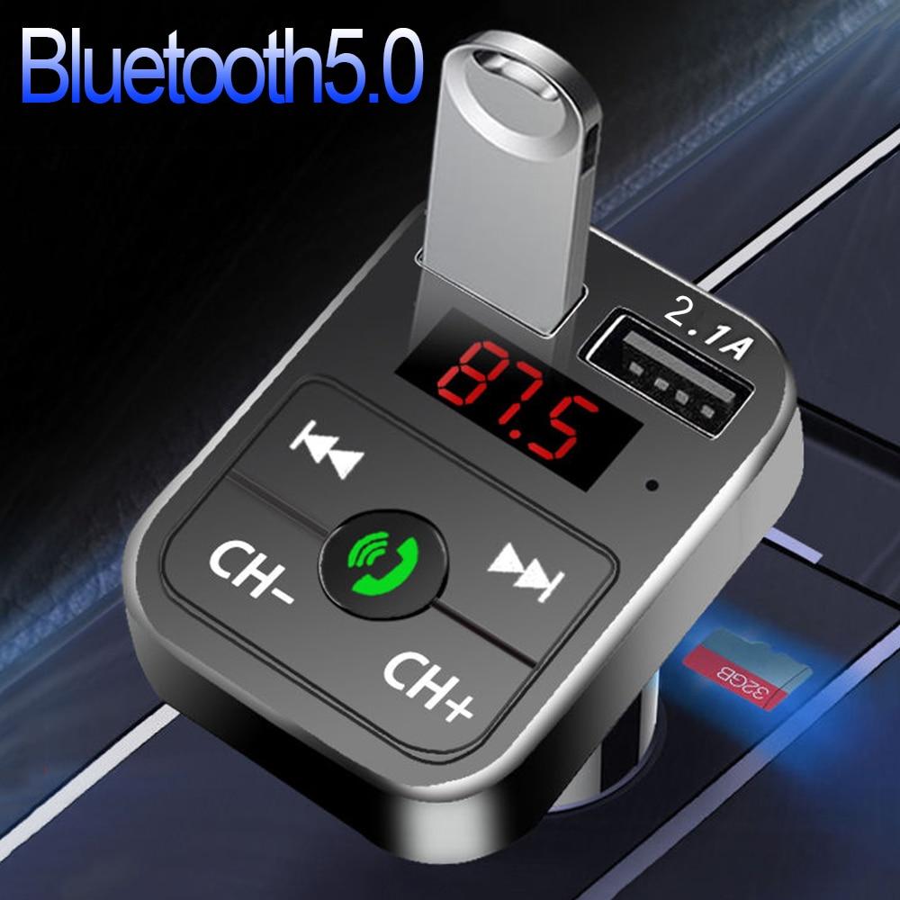 JINSERTA Car Bluetooth 5.0 Mp3 Player FM Transmitter Handsfree Audio Receiver 3.1A Dual USB Fast Charger Support TF/U Disk
