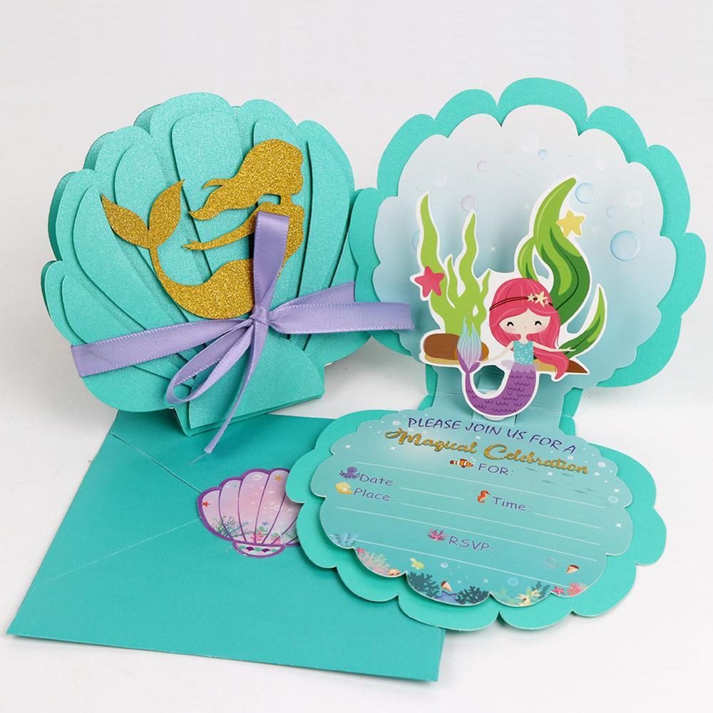12 шт. приглашения для вечеривечерние русалки OurWarm 3D перламутровая Русалка с конвертами для детей на день рождения свадебные Тематические то...