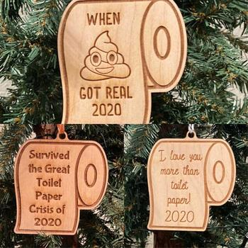 2020 Quarantine Survived the Great Toilet Paper Engraved Personalise Christmas Hanging Wooden Board Handmade Solid Ornament Gift image