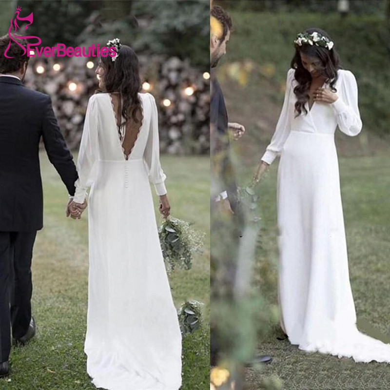 Simple Wedding Dresses 2020 Bohemian Country Bridal Gowns V-Neck Backless Long Sleeve Plus Size Bride Dress Vestido De Novia