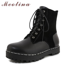 Meotina Motorcycle Boots Women Shoes Real Leather Flat Platform Ankle Boots Round Toe Lace Up Short Boots Lady Winter Black 43 women martin boots black ankle short boots lace up flat boots woman