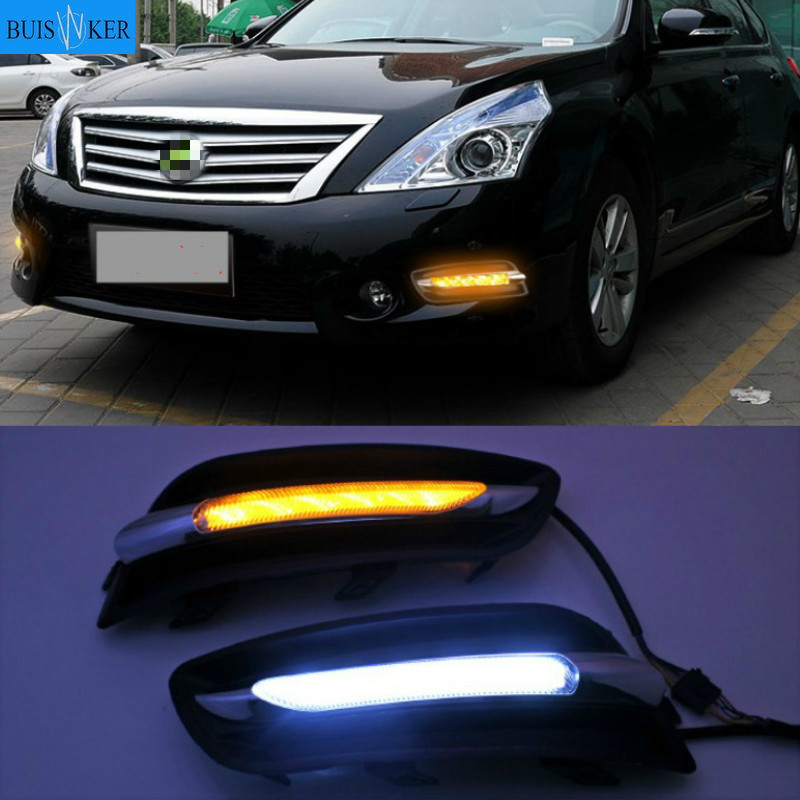 1 Pair 12V Car Front LED Drl Daytime Running light For Nissan Teana J32 2011 2012 Fog Driving Lamp Turn Signal Styling image