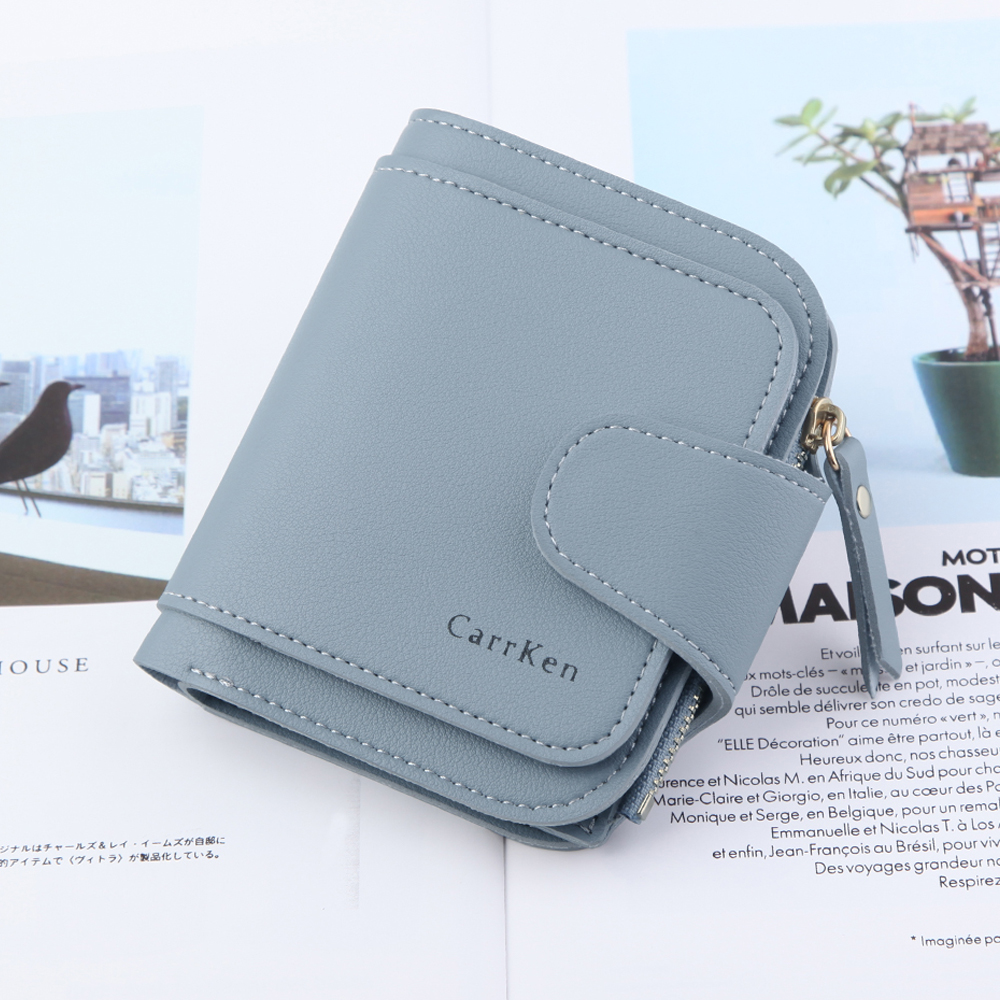 Fashion Women Clutch Leather Mini Wallet Ladies Girl Casual Card Holder Bag Solid Zip Coin Purse Handbag