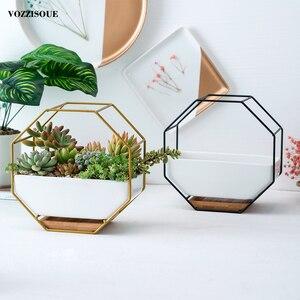 Image 2 - Pot à suspendre sur le mur, Maceta en céramique, Pots de fleurs succulents pour orchidées, porte Pots dintérieur pour plantes