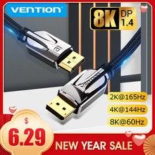 Vention displayport 1.4 cabo 8k @ 60hz de alta velocidade 32.4gbps expositor porto cabo para vídeo pc portátil dp 1.4 porta exibição 1.2 cabo