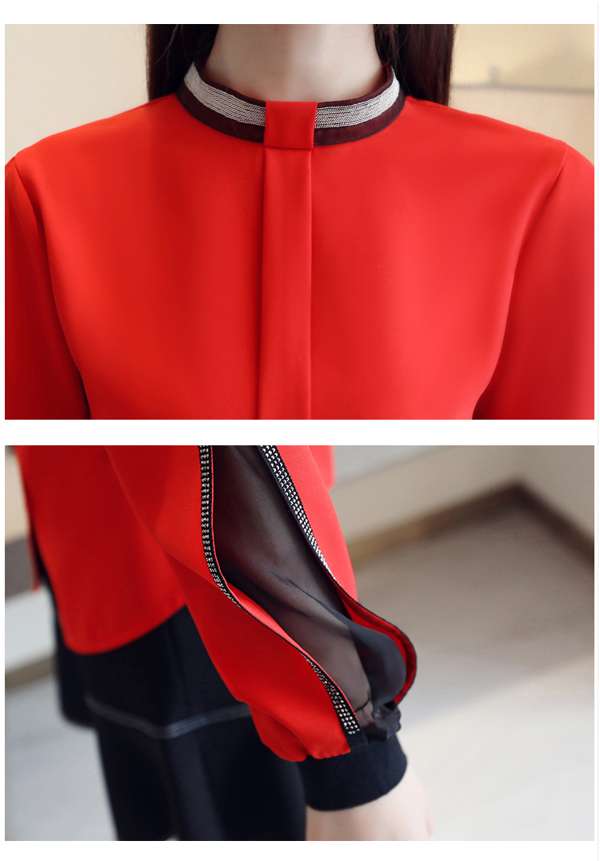Blusa feminina de chiffon, camisa feminina estilosa casual elegante gola alta