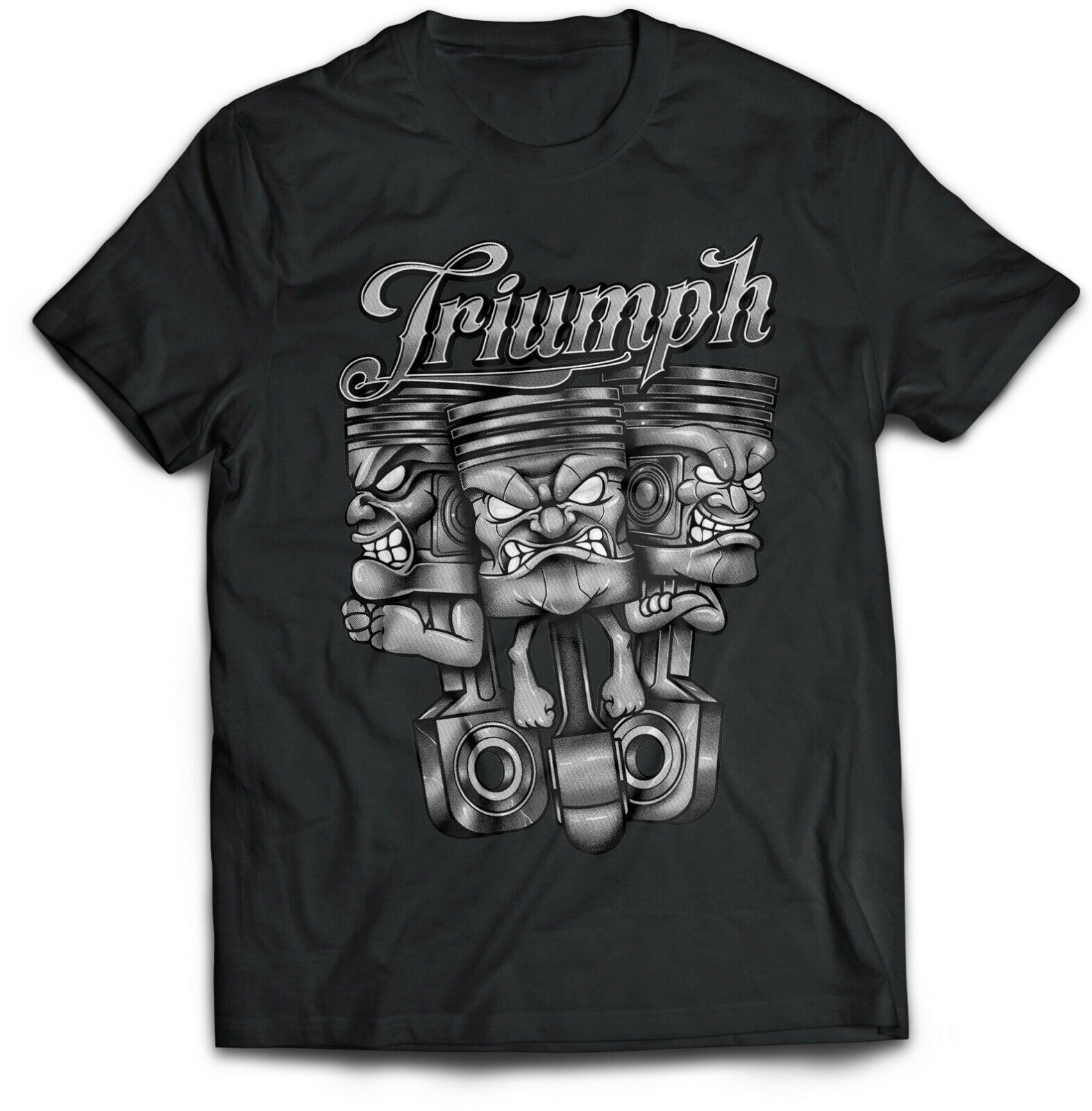 Triumph Motor Cycle T Shirt Biker Style Sizes Small To 5XL Three Pistons Design