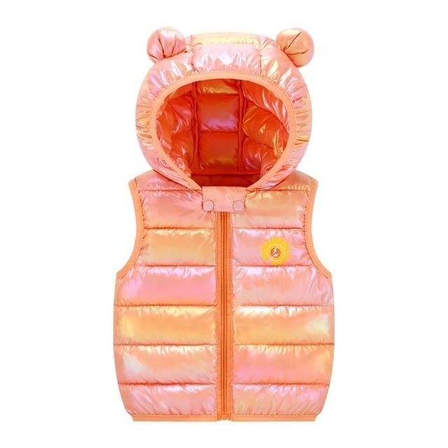 Gilet pour enfants automne et hiver bébé épaissi chaud gilet bas rembourré veste filles garçons mode brillant à capuche mignon gilet