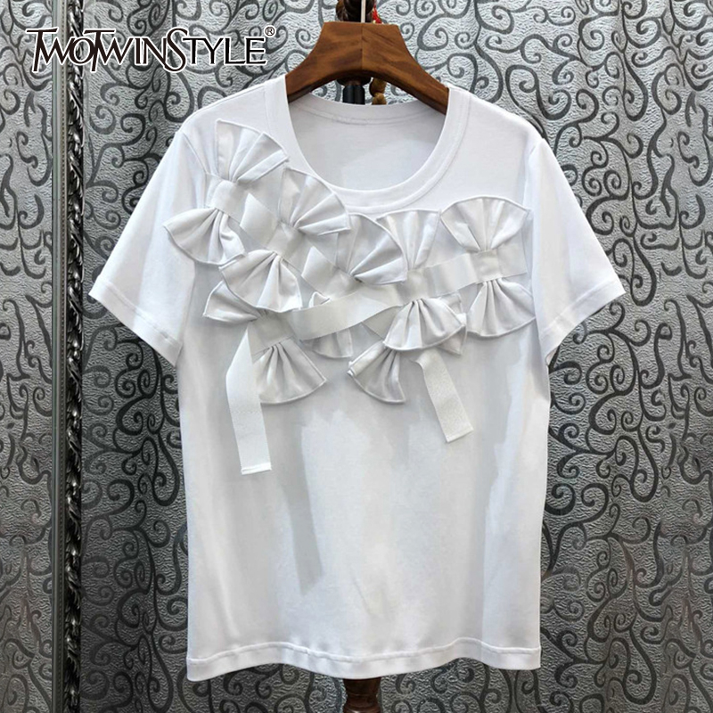 TWOTWINSTYLE Casual Pcthwork Bow Women T-shirt O Neck Short Sleeve Loose Irregular T Shirt For Female Fashion Clothing 2020 Tide