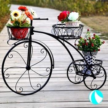 Estante de almacenamiento para suelo de bicicleta, de hierro forjado europeo, para interiores, balcón, carne de rábano verde, sala de estar
