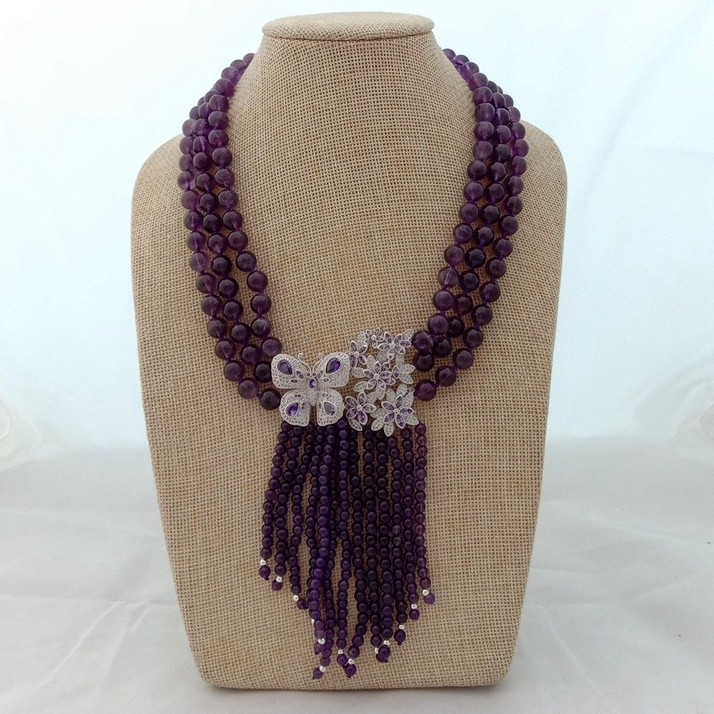 18'' 3 Strands Natural Round Amethyst Necklace CZ Pendant