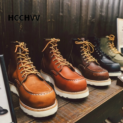 Goodyear-Welted Vintage Genuine Leather Ankle Motorcycle Boots Wings Square top Men Casual Dress Work Red Boots Shoes men punk
