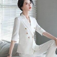 White Suit Woman Autumn Two-Piece Set 3/4 Sleeve Gold Button