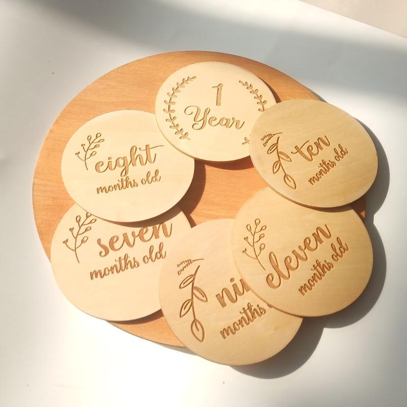 12/14/16 Pcs Baby Milestone Karten Holz Gedenken Baby Geburt Monatliche Aufnahme Discs Neugeborenen Dusche DIY Geschenke