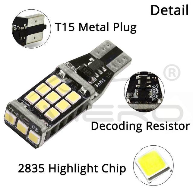 T15 921 Car LED CANBUS Backup Light Reverse Light Brake Light W16W WY16W 2835 Chip No ERROR Tail Bulb Auto Lamp Turn Signal Lamp
