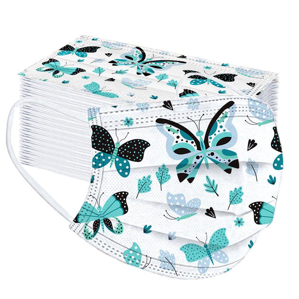 Protective-Mask Green Masque PLY-FILTER Disposable Print Breathable 3-Layer 50pc Butterfly