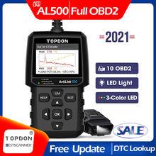 Topdon al500 obd2 ferramenta de diagnóstico do carro obd 2 scanner automotivo analisador motor ferramenta leitor código obdii ferramenta de verificação