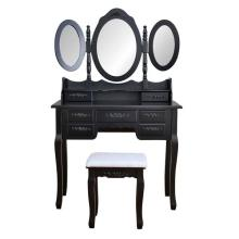 Foldable Makeup Mirror 3 Mirrors with 7 Drawers Dressing Table Antique Desk Stool for Bedroom Desktop