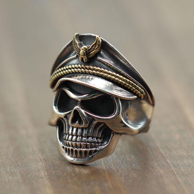 Тайский серебряный Ретро крутой локомотив череп мужские кольца S925 прохладный Орел военный колпачок кольцо из стерлингового серебра