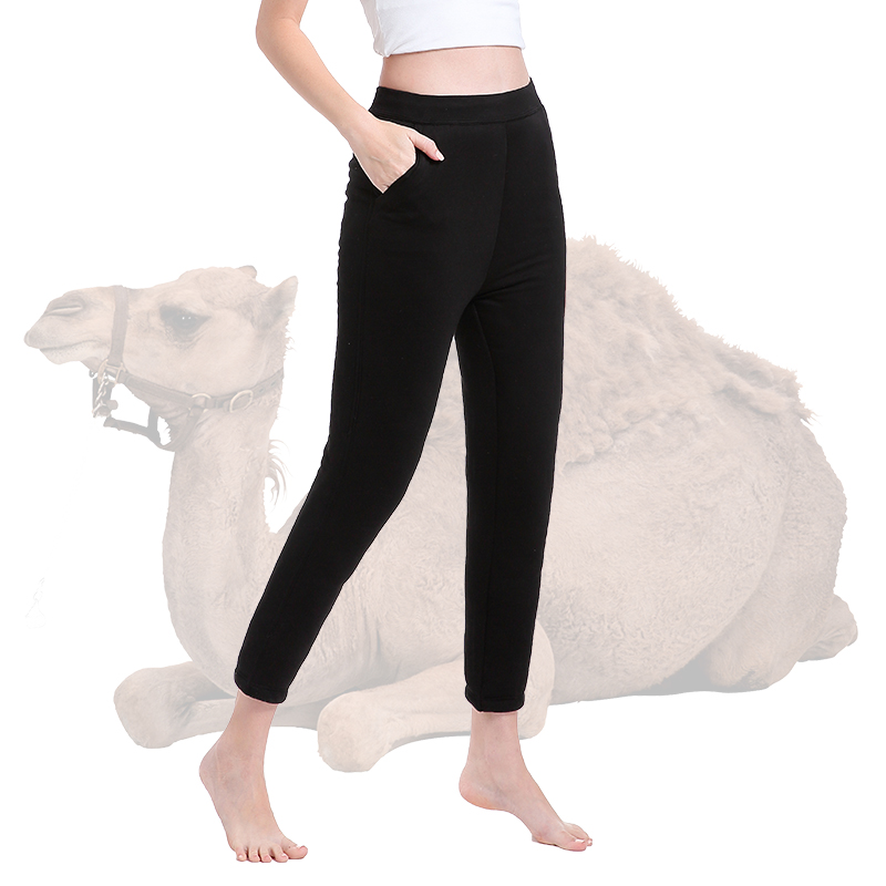 2019 Winter Thickened Camel Hair Thermal Pants Female Warm Knee Thicken Thermal Underwear Trousers Women's Warm Pants