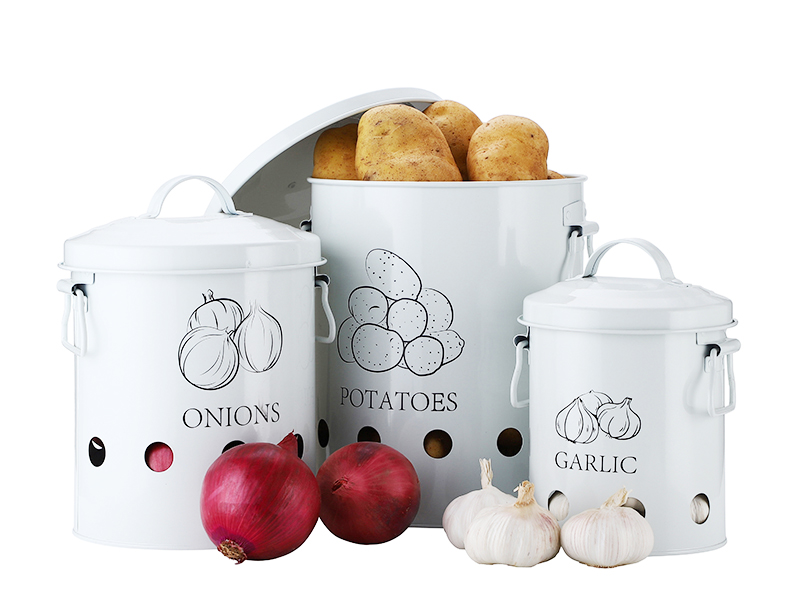Breathable Kitchen Container Set and Food Storage Bins with 2 Handles for Storing Potatoes and Onions 12
