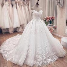 Великолепное Кружевное бальное платье; свадебные платья принцессы с открытыми плечами и шнуровкой сзади; мусульманские свадебные платья невесты; бальное платье