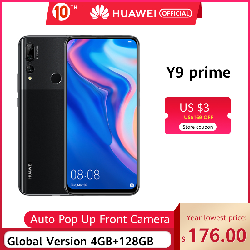 "In Stock Global Version Huawei Y9 Prime 2019 Smartphone AI Triple Rear Cameras 4GB128GB Auto Pop Up Front Camera 6.59"" Cellphone"