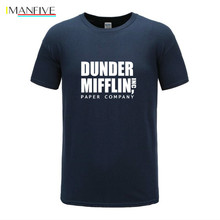 Free shipping 2019 Men Print The Office TV Show Dunder Mifflin Paper White -shirt Short sleeve O-Neck Harajuku Streetwear Tshirt
