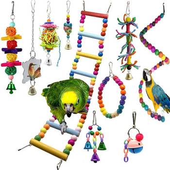 10 Pcs Bird Swing Chewing Toys Parrot Hammock Bell Toys Parrot Cage Toy Bird Perch with Wood Beads Hanging 8pcs parrot toys birds toys swing bird chewing toys birds cage toys