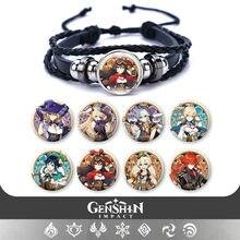 Genshin impacto mondstadt pulseira de couro anime jogo figura pulseiras pulseira jóias fãs presentes