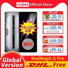 Dhl versão global livre nubia red magic 6 pro jogos smartphone 16gb ram 256gb rom 6.8 snapsnapsnapdragon 888 octacore redmagic 6 pro