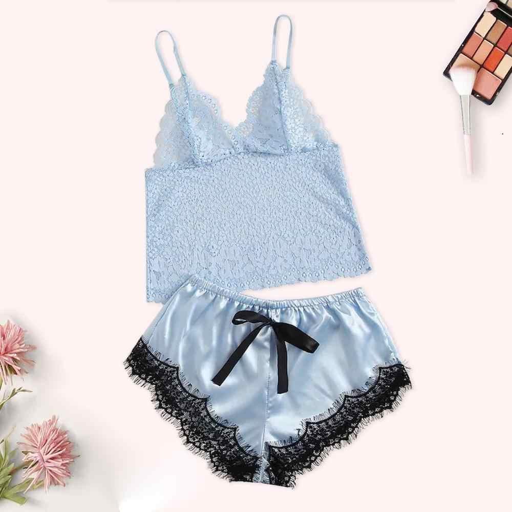2 pièces Bleu Dentelle Satin Costume Pyjama Femmes V-cou Soie Dentelle Sexy Tache Dos Nu Camisole Pyjamas ensemble short et haut