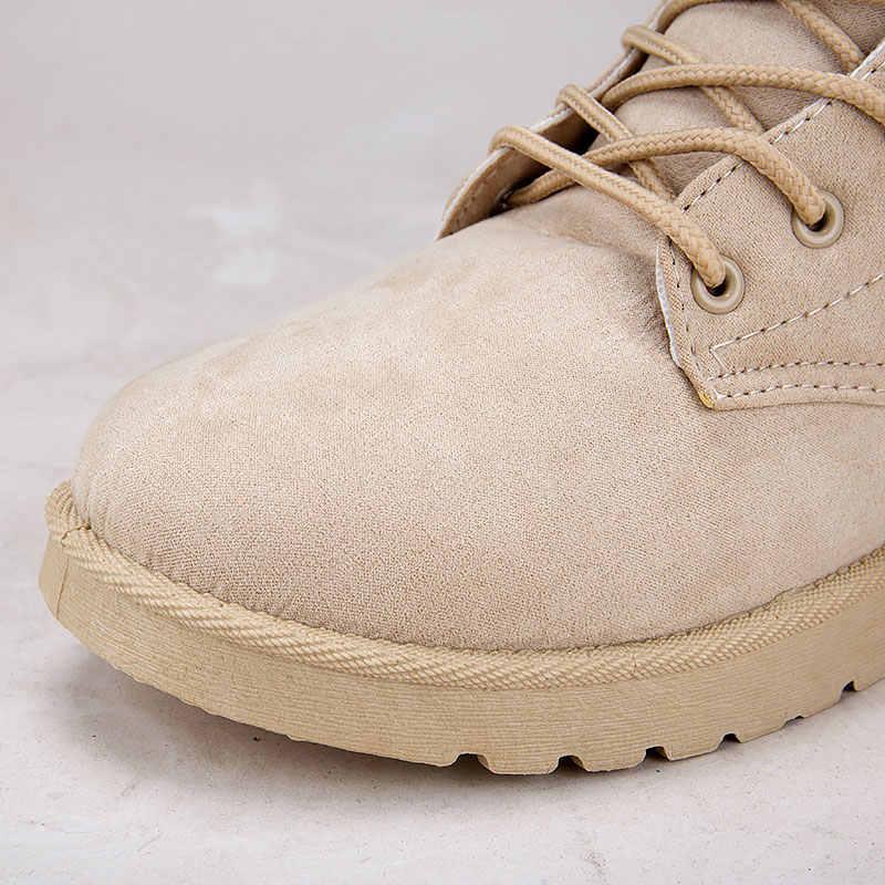 Kış çizmeler kadın ayakkabıları kadın sıcak kürk peluş astarı süet kış kadın bot ayakkabı kadın dantel-up ayak bileği kar botları bayanlar ayakkabı