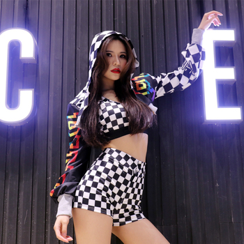 3pcs Racing Grid Dance Sets New Sexy Bar Club Women Stage Wear Street Dance Show Clothing Outfits Jacket+Crop Top+shorts