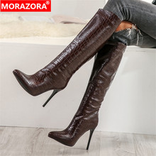 Morazora 2020 ホット販売女性ニーハイブーツソリッドカラーのセクシーな薄型ハイヒールレディース秋冬ブーツパーティー結婚式靴
