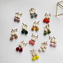 Wool Ball Pom-Pom wooden Earrings for women PomPom Multicolor Temperament Concise earings fashion trendy summer jewelry 2019 new