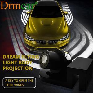 Image 1 - 2X רכב מלאך כנפי בברכה אור צל הנורה מנורת LED דלת אזהרת אור חלום כל רכב DC 12V 24V חניה LED