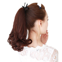 LUPU Wig virgin hair ponytail medium length big wave long hair pigtail bandage real hair pear flower curly hair(China)