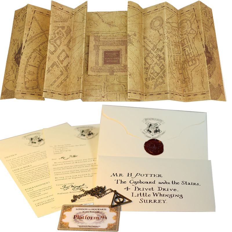 Harry Map The Marauder's Map And Acceptance Letter And Platform 9 3/4 Ticket Deathly Hallows Necklace Wizard Movie Magic Tricks