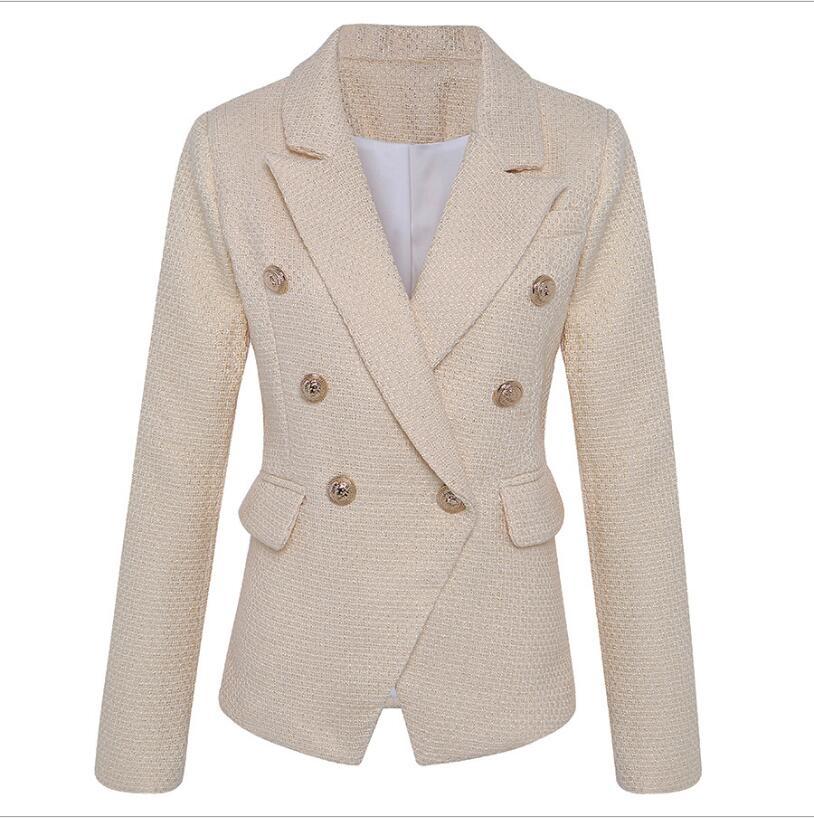 High Quality 2019 New Ladies Blazer Double-breasted Bronzing Slim Long-sleeved Blazer Fashion Office Ladies Femme Jacke