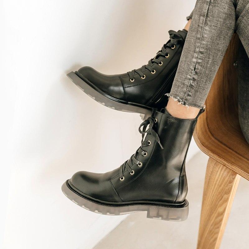 sepatu boots wanita black ankle for women winter cowboy PU leather